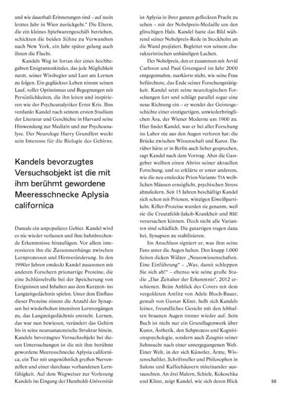Christina Bylow: Porträt Eric Kandel in Albert Nr. 02/16, Seite 56