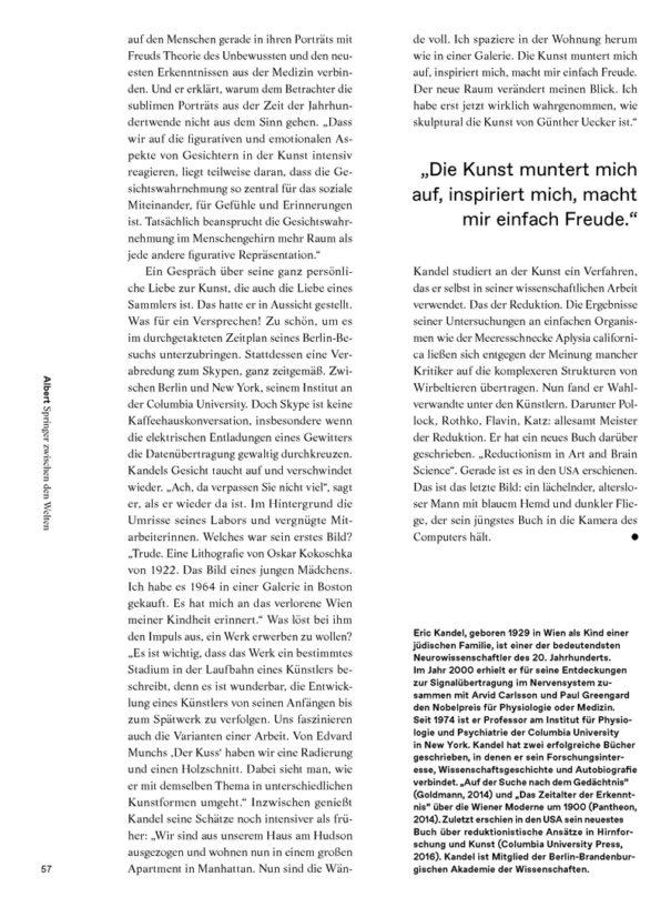 Christina Bylow: Porträt Eric Kandel in Albert Nr. 02/16, Seite 57